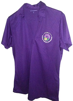 Purple BWA polo shirt on a hanger