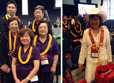 two photos: 5 delegates from Kauai in lei, woman in white with western-style cowboy had