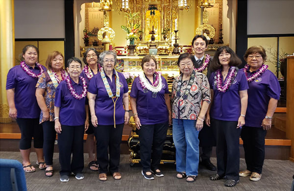 Honolulu United BWA Officers with Rev. Umitani before an altar