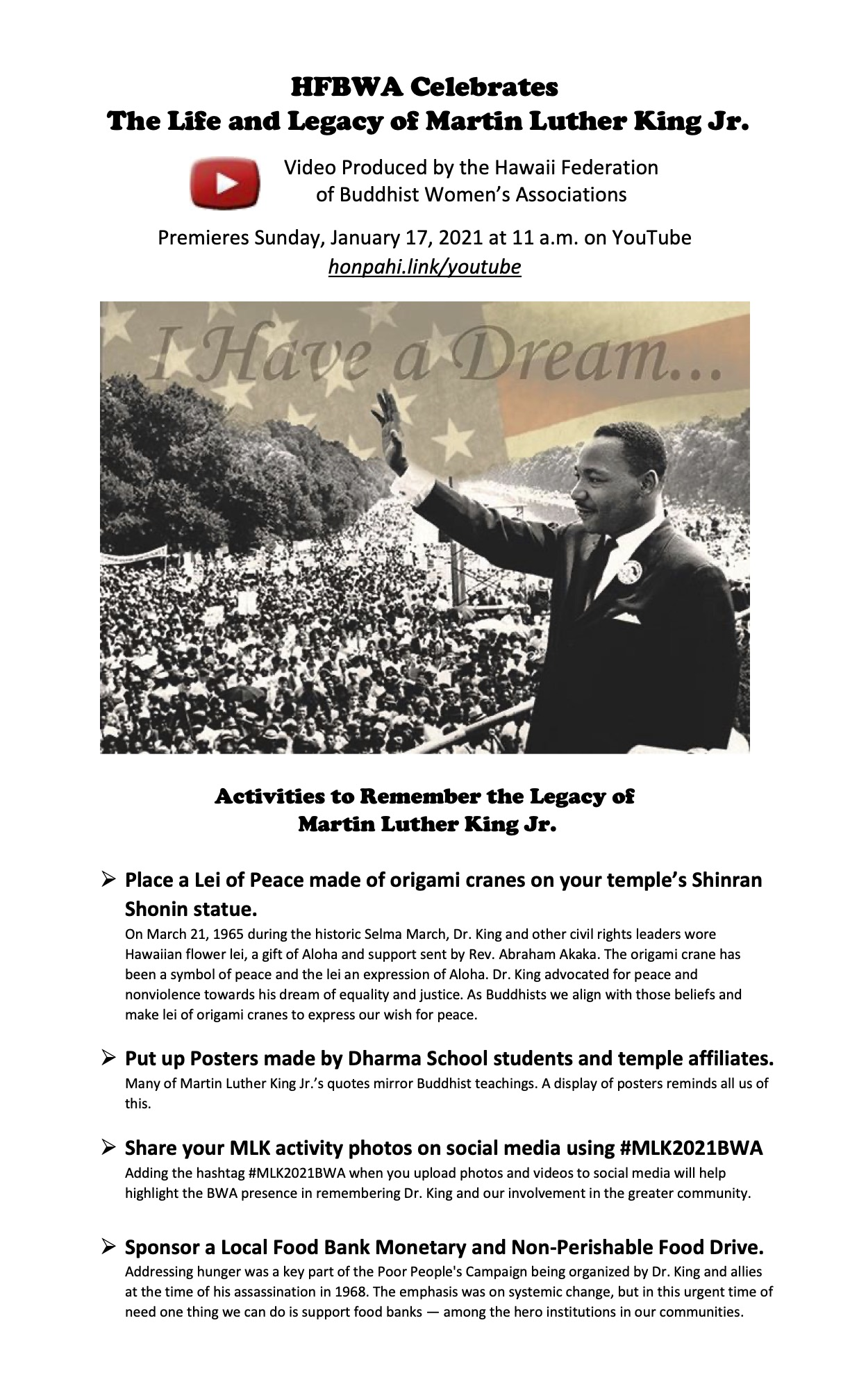 Martin Luther King, Jr. Video/HFBWA on YouTube